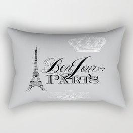 Bonjour Paris Gray Rectangular Pillow