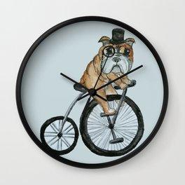 English Bulldog Riding a Penny-farthing Wall Clock