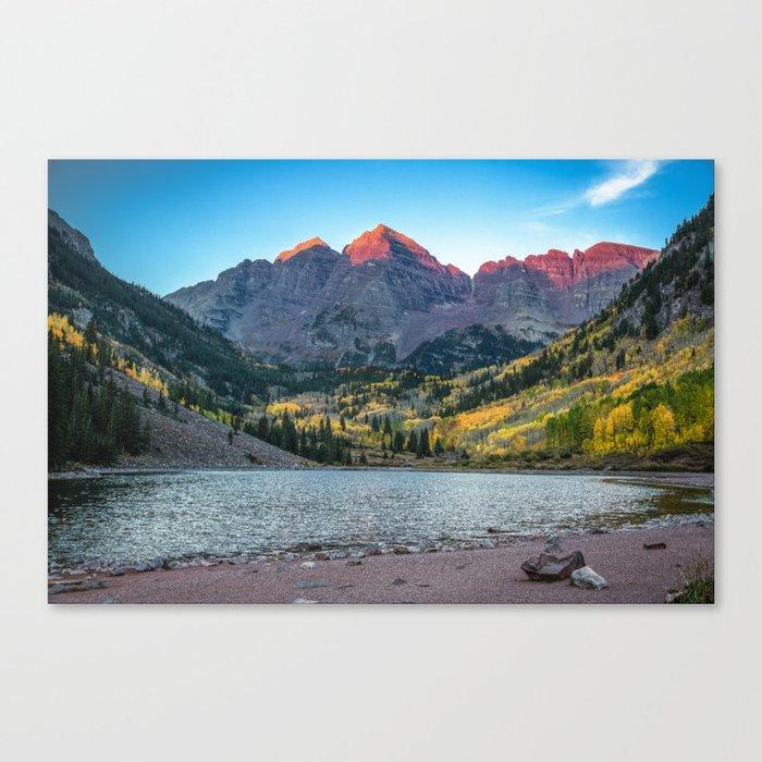 Maroon Bells Morning Sunrise And Autumn Color Near Aspen