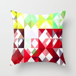 Mixed Color Poinsettias 2 Abstract Triangles 1 Throw Pillow