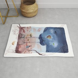 There is an apple tree in the woods - Watercolor Fantasy Rug