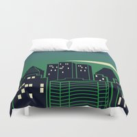montreal Duvet Covers featuring Montreal Skyline by Wheel of Fortune