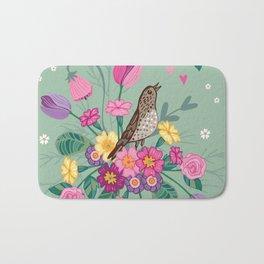 Birds in a Spring Garden on Green Bath Mat