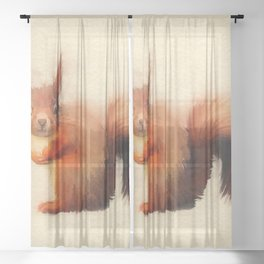 Red Squirrel Sheer Curtain