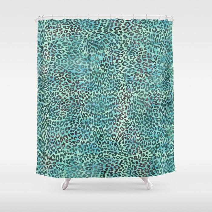 Green Leopard Print Shower Curtain By Serigraphonart