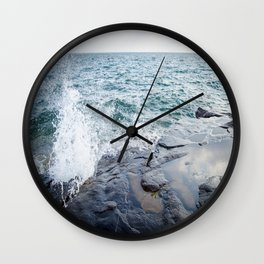 Rough waters- color  Wall Clock