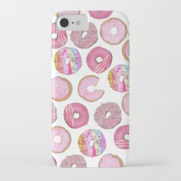 Cute Pink Sprinkle Confetti Watercolor Donuts iPhone Case