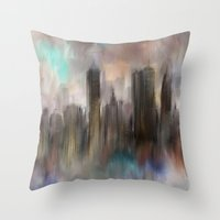 skyline Throw Pillows featuring Skyline by Rafael&Arty