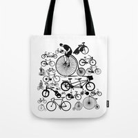 bicycles Tote Bags featuring Bicycles by Ewan Arnolda