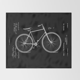 Vintage Bicycle Patent Black Throw Blanket