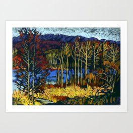 Deer Lake park. Soft pastel painting.  Art Print
