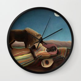 'The Sleeping Gypsy' Lion and Moon While Sleeping in the Desert by Henri Rousseau Wall Clock