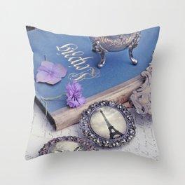 Vintage Blue Paris Throw Pillow