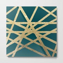 Modern turquoise green gold glitter foil ombre geometric stripes color block Metal Print
