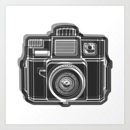 I Still Shoot Film Holga Logo - Black and White Art Print