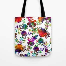 Watercolor unusual  flower rainbow doodle Tote Bag