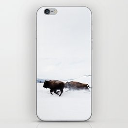 Wild Bison Running in Winter iPhone Skin