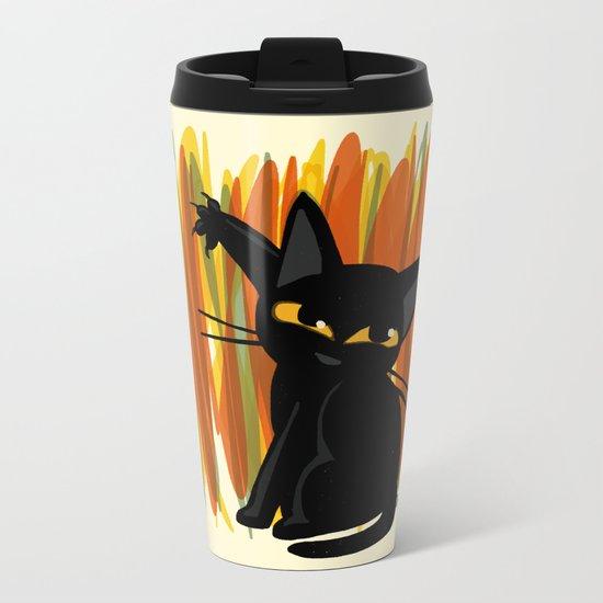 Cat artist Metal Travel Mug