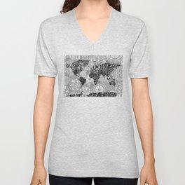 world map mandala black and white 1 Unisex V-Neck