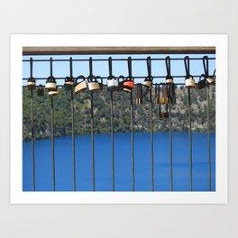 Padlocks of Love - Mount Gambier - The Blue Lake Art Print