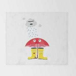 Raincloud, rubber boots and umbrella Throw Blanket