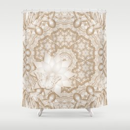 Butterfly on mandala in iced coffee tones Shower Curtain
