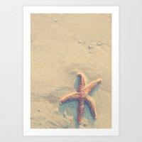 Starfish on the beach Art Print