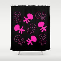 aliens Shower Curtains featuring Aliens-Pink by ts55