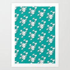 White plant on Turquoise Art Print