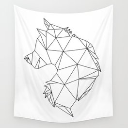 Geometric Wolf (Black on White) Wall Tapestry