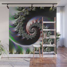 Cool Wet Paint Fractal Swirl of RGB Primary Colors Wall Mural