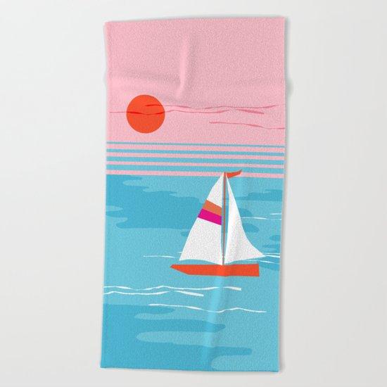 Mellow Out - memphis throwback retro classic neon yacht boating sailboat ocean sea 1980s 80s pop art Beach Towel