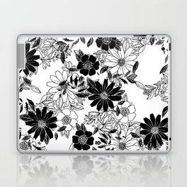 Modern black white hand drawn floral illustration Laptop & iPad Skin