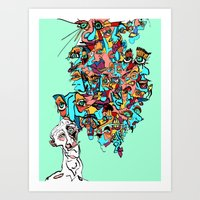 brain waves Art Prints featuring Brain Drain by Rat McDirtmouth