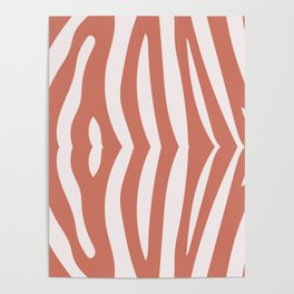 Zebra living coral pattern Poster
