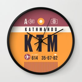 Baggage Tag A - KTM Kathmandu Tribhuvan Nepal Wall Clock