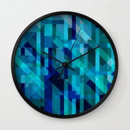 abstract composition in blues Wall Clock