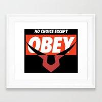 code geass Framed Art Prints featuring OBEY Geass by josemaHdeH