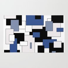 Squares -  gray, blue, black and white. Rug
