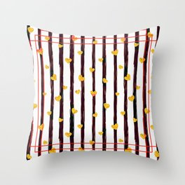 Gold Glitter Hearts on Black and Red Stripes Throw Pillow
