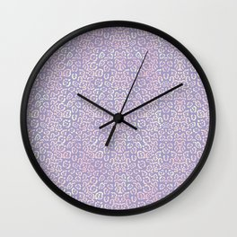 Lavender Purple Cat Print Animal Pattern with a Blush of Pink Wall Clock