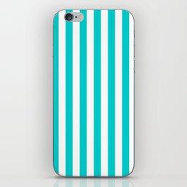 Narrow Vertical Stripes - White and Cyan iPhone Skin
