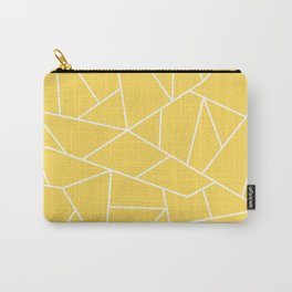 White Mosaic Lines On Mustard Yellow Carry-All Pouch
