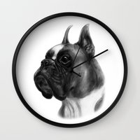 boxer Wall Clocks featuring Boxer  by Danguole Serstinskaja