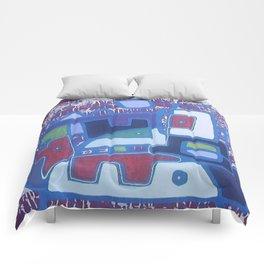 PERRO ROJO DENTRO DEL PAISAJE Comforters
