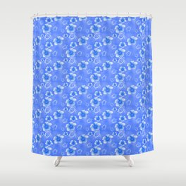 Blue Honu And Hibiscus Hawaiian Pattern Shower Curtain