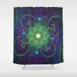 Glowing Blue-Green Fractal Lotus Lily Pad Pond Shower Curtain