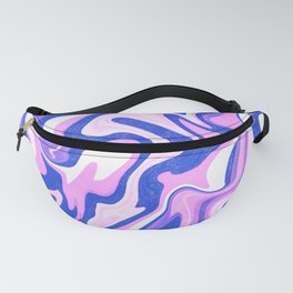 Pink, Blue and White Liquid Abstract Fanny Pack