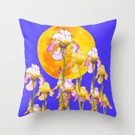 IRIS GARDEN & RISING GOLD MOON  DESIGN ART Throw Pillow