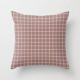 Burnished brown - violet color - White Lines Grid Pattern Throw Pillow